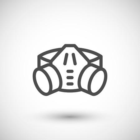elementos de protección personal: Respirador con el icono de los cartuchos de filtro de línea aislado en gris. ilustración vectorial Vectores