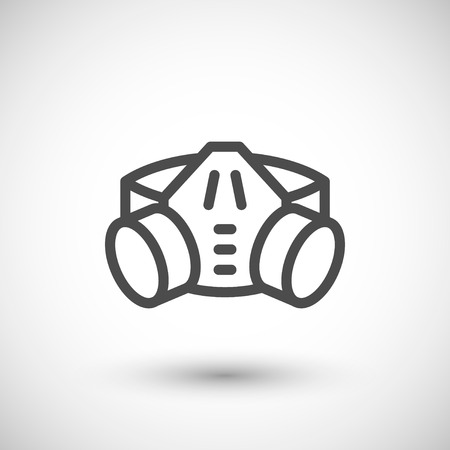 personal protective equipment: Respirator with filter cartridges line icon isolated on grey. Vector illustration Illustration