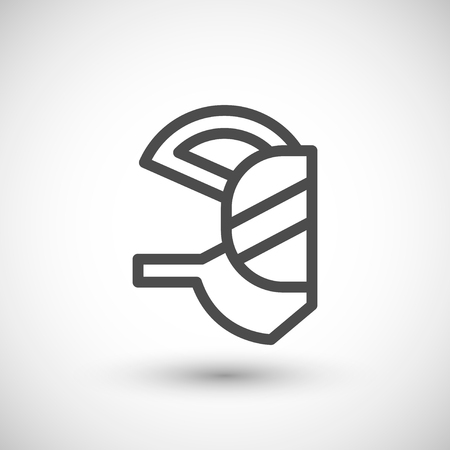 respirator: Respirator mask line icon isolated on grey. Vector illustration