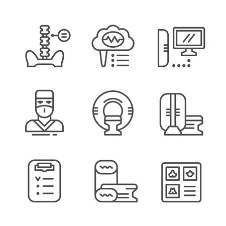 Fije los iconos de la línea de resonancia magnética aisladas en blanco. ilustración vectorial