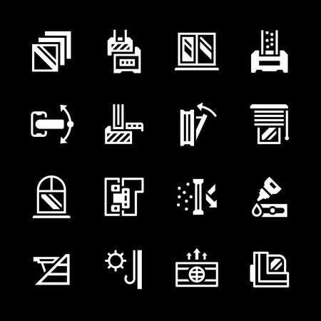 window sill: Set icons of modern window isolated on black. Vector illustration Illustration