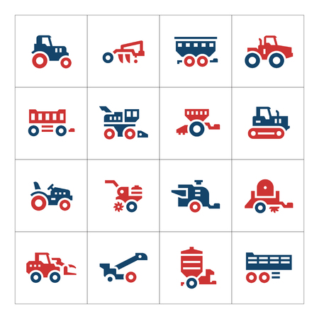 crop sprayer: Set color icons of agricultural machinery isolated on white. Vector illustration Illustration