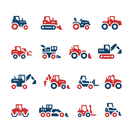 road grader: Set color icons of tractors, farm and buildings machines, construction vehicles isolated on white. Vector illustration Illustration