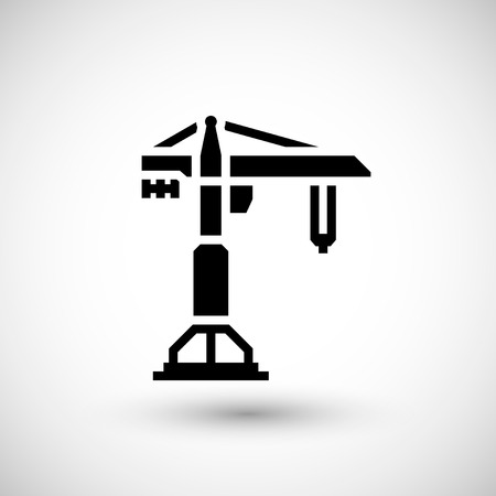engineering tool: Construction crane icon isolated on grey. Vector illustration