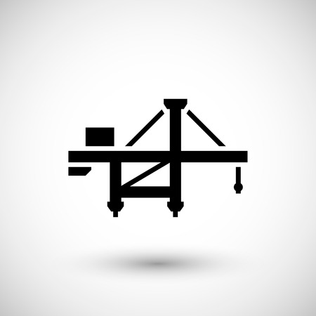 jetty: Harbor crane icon isolated on grey. Vector illustration