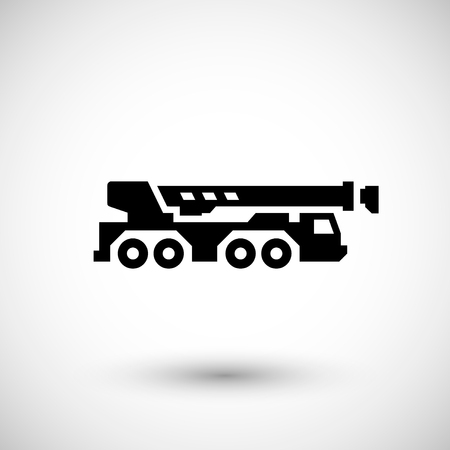 elevate: Heavy mobile crane icon isolated on grey. Vector illustration