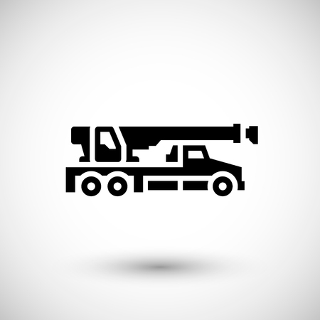 crane truck: Crane truck icon isolated on grey. Vector illustration