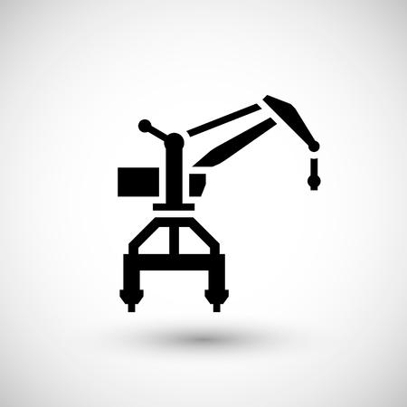 harbor: Harbor crane icon isolated on grey. Vector illustration