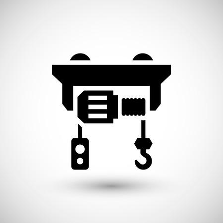 hoist: Electric hoist icon isolated on grey. Vector illustration