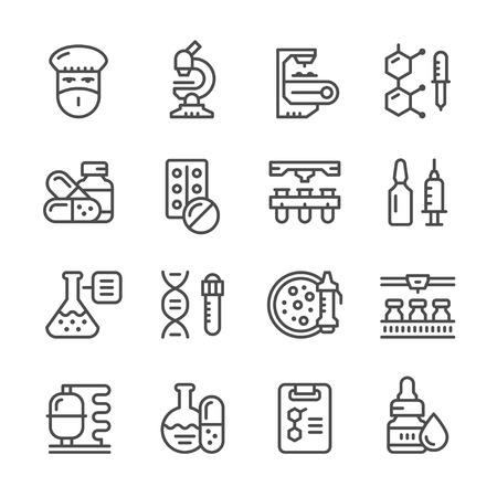 Zestaw ikon linii przemysłu farmaceutycznego na białym.