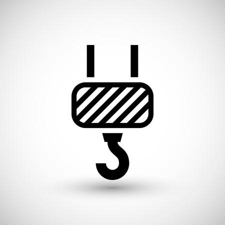 hoist: Crane hook icon isolated on grey. Vector illustration