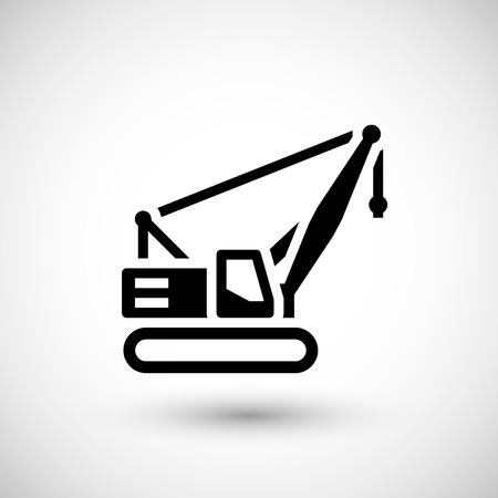 crawler: Crawler crane icon isolated on grey. Vector illustration