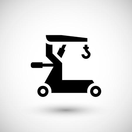 hoist: Mobile hoist icon isolated on grey. Vector illustration