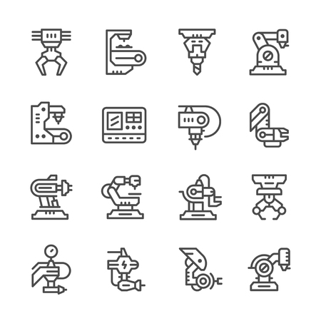 cnc: Set line icons of robotic industry isolated on white. illustration