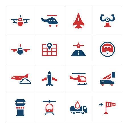 Set color icons of aviation isolated on white. illustration Illustration