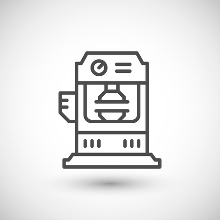 press: Hydraulic press machine line icon isolated on grey.  illustration