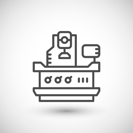 cnc: Vertical milling machine line icon isolated on grey. illustration Illustration
