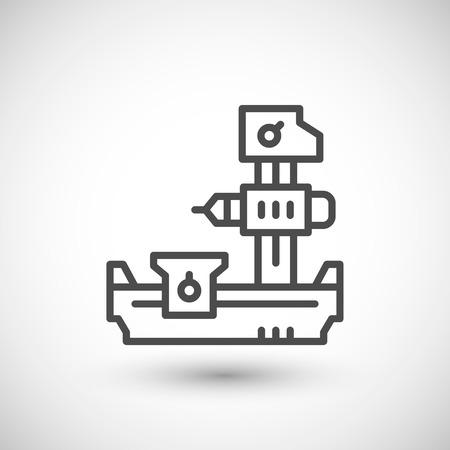 boring: Horizontal boring machine line icon isolated on grey. illustration
