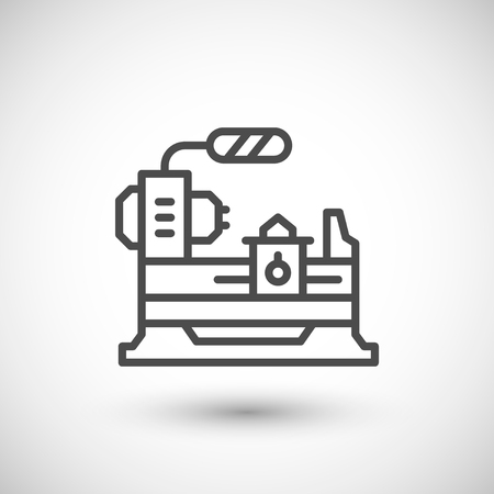 lathe: Lathe machine line icon isolated on grey. illustration