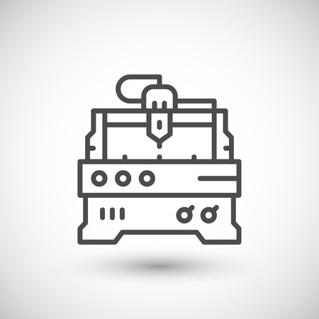 cnc: Cnc milling machine line icon isolated on grey. illustration