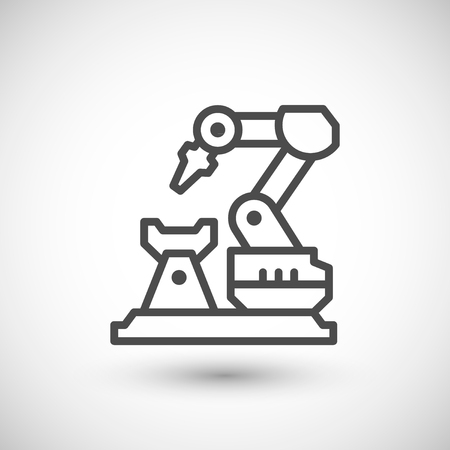 Robotic arm machine line icon isolated on grey. illustration