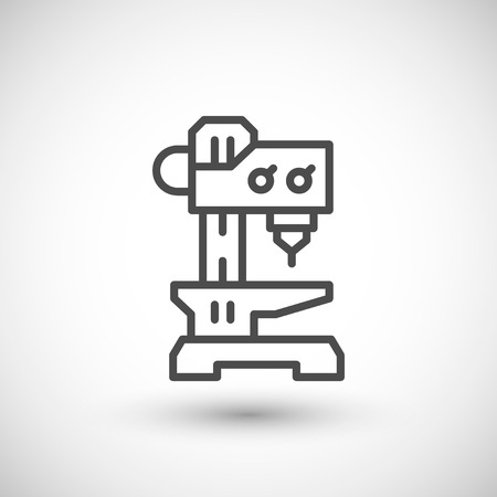 drilling machine: Drilling machine line icon isolated on grey. illustration