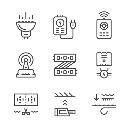 component parts: Set line icons of LED equipment isolated on white. Illustration