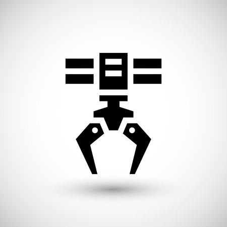 grabber: Robotic claw icon isolated on grey.