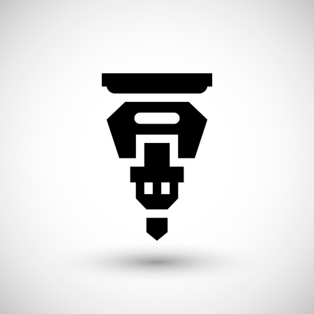 drilling machine: Drilling machine part icon isolated on grey.