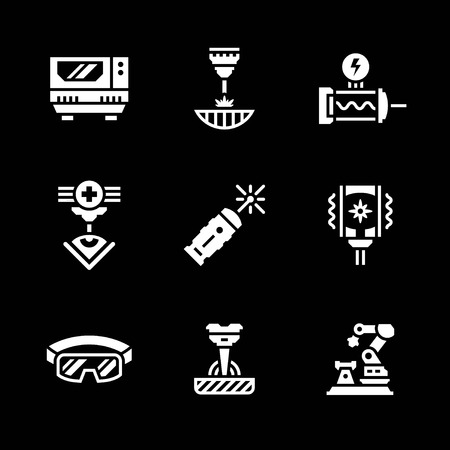 metal cutting: Set icons of laser isolated on black.  illustration