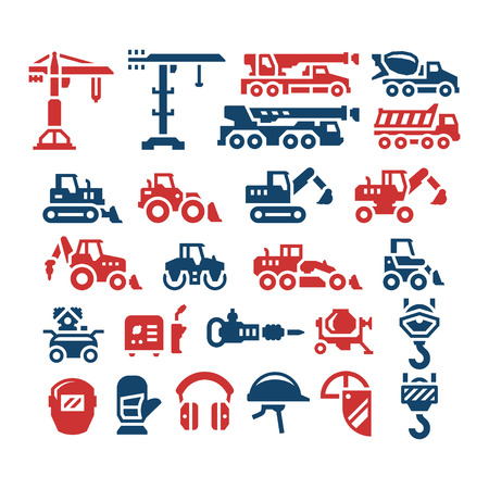 construction icons: Set color icons of construction equipment isolated on white. illustration