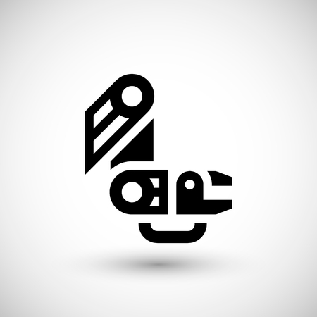 factory automation: Robotic arm icon isolated on grey. illustration