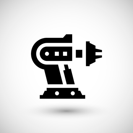 cnc: Robotic machine part icon isolated on grey. illustration
