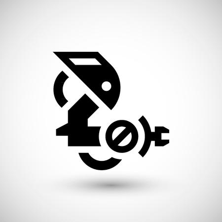 Robotic icône bras isolé sur gris. illustration