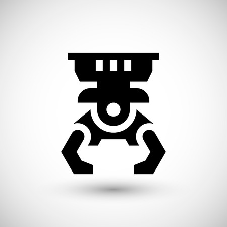 grabber: Robotic claw icon isolated on grey. illustration