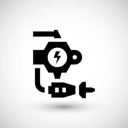 machine part: Robotic machine part icon isolated on grey.  illustration