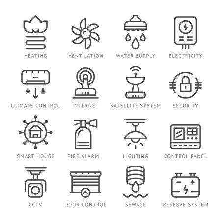 Stel lijn iconen van het huis van systemen op wit wordt geïsoleerd. vector illustratie Stockfoto - 58782933