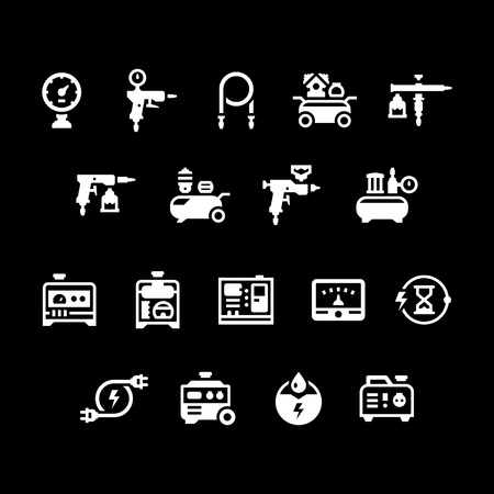 diesel generator: Set icons of electric generator and air compressor isolated on black. Vector illustration