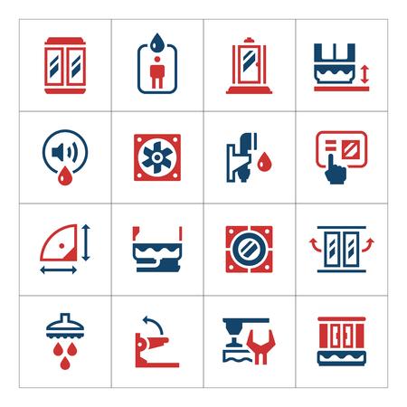 cabine de douche: Set icônes de couleur de cabine de douche isolé sur blanc. Vector illustration