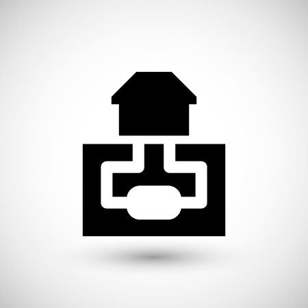 sewerage: Sewerage system icon isolated on grey. Vector illustration