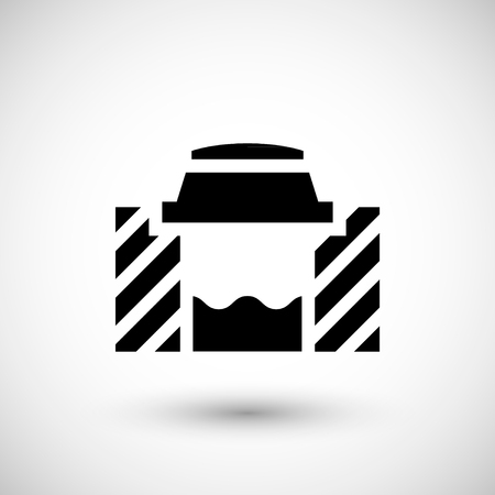 canalization: Sewage system icon isolated on grey. Vector illustration