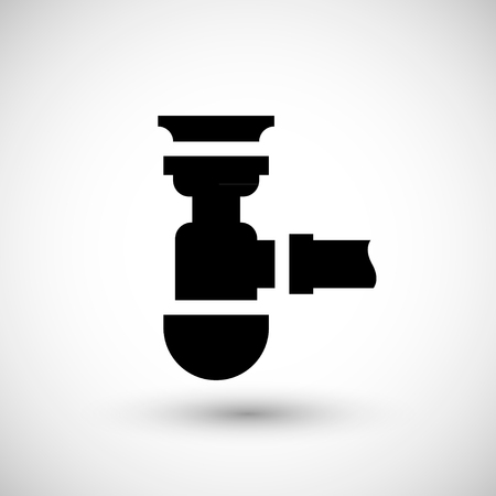 sewerage: Sewage siphon icon isolated on grey. Vector illustration