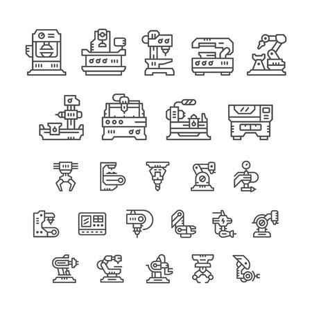 Fije los iconos de la línea de la máquina-herramienta, la industria robótica aislados en blanco. ilustración vectorial Ilustración de vector