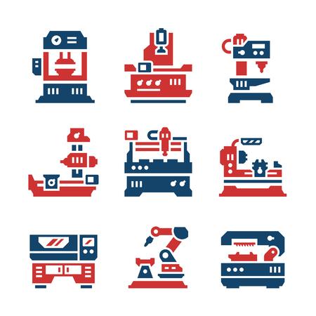 conjunto: Establecer los iconos de color de la máquina-herramienta aislada en blanco. Ilustración vectorial