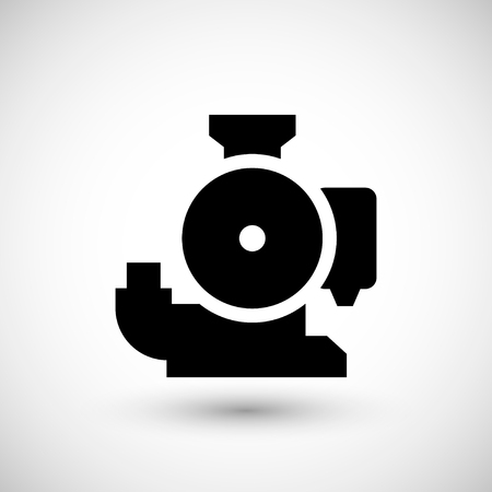 canalization: Sewage pump icon isolated on grey. Vector illustration