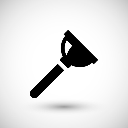 canalization: Plumbing plunger icon isolated on grey. Vector illustration