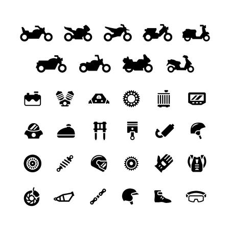 Set iconen van motorfiets geïsoleerd op wit. vector illustratie