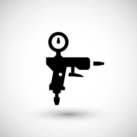 paint spray gun: Paint gun icon isolated on grey. Vector illustration