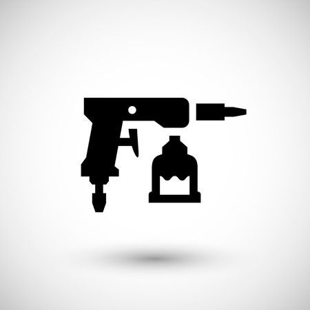 paint gun: Paint gun icon isolated on grey. Vector illustration