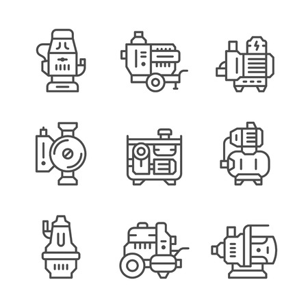 water pump: Set line icons of water pump isolated on white.